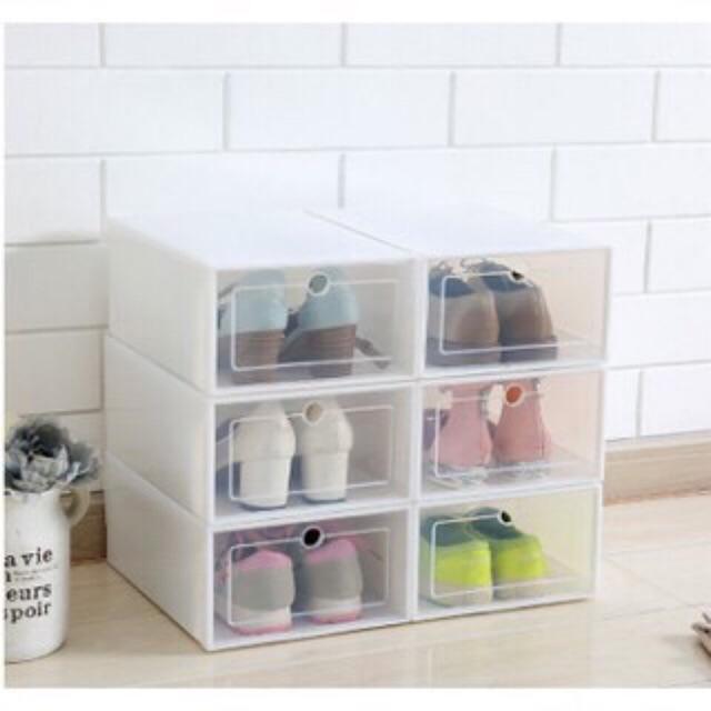 [Sẵn- Bao đổi trả khi hộp vỡ] Hộp Đựng Giày Nắp Nhựa Cứng Trong Suốt  - Chịu Lực 4kg -Kèm ảnh thật