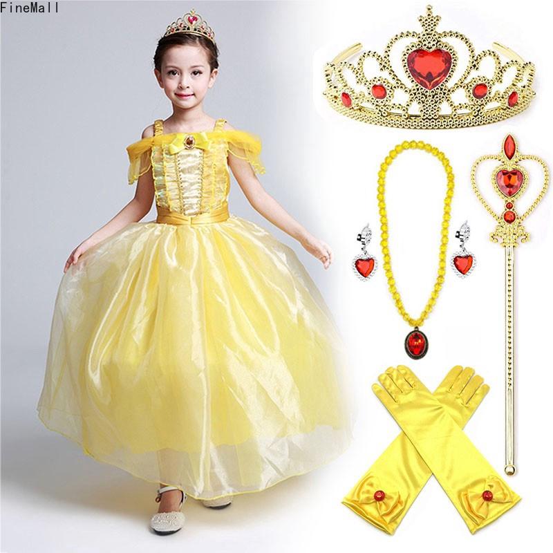 Bộ đầm kèm nhiều phụ kiện hoá trang công chúa Belle cho bé từ 3-9 tuổi