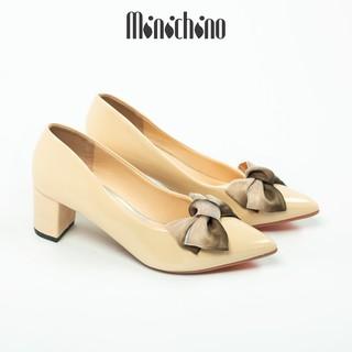 Giày cao gót nữ cao 5cm MINICHINO giày búp bê nữ mũi nhọn da bóng phối nơ thời trang màu kem TC047 thumbnail