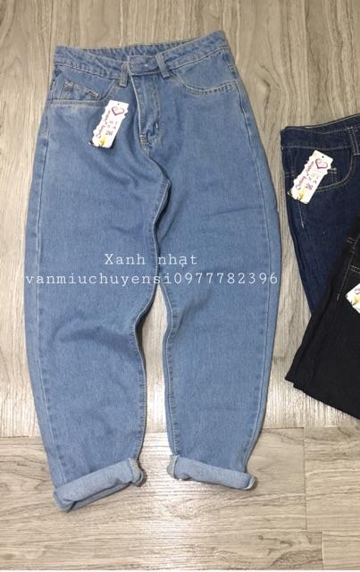 Quần jeans nữ baggy dáng trơn cạp cao may gấu