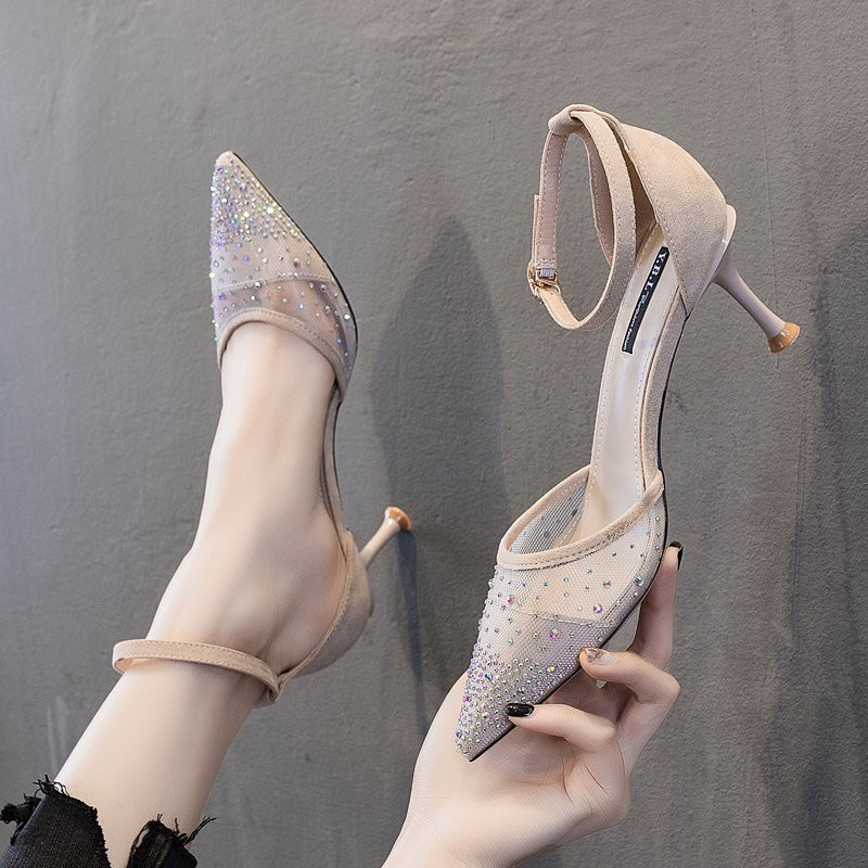 (Bảo hành 12 tháng)Giày cao gót nữ bít mũi phối lưới đính đá cao cấp -Giày bít mũi da mềm 2 màu gót cao 7cm -Linus LN275