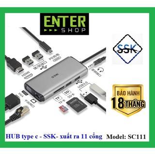 [Mã ELMSBC giảm 8% đơn 300K] HUB chuyển đổi từ type-c – kết nối ra 11 cổng – SC111 tặng kèm túi chống sốc Hub