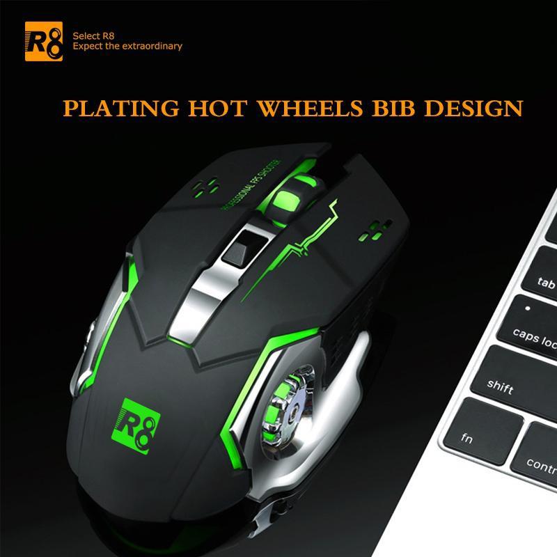 Chuột không dây Gaming R8 1710A DPI 3200 Led 7 màu bắt mắt