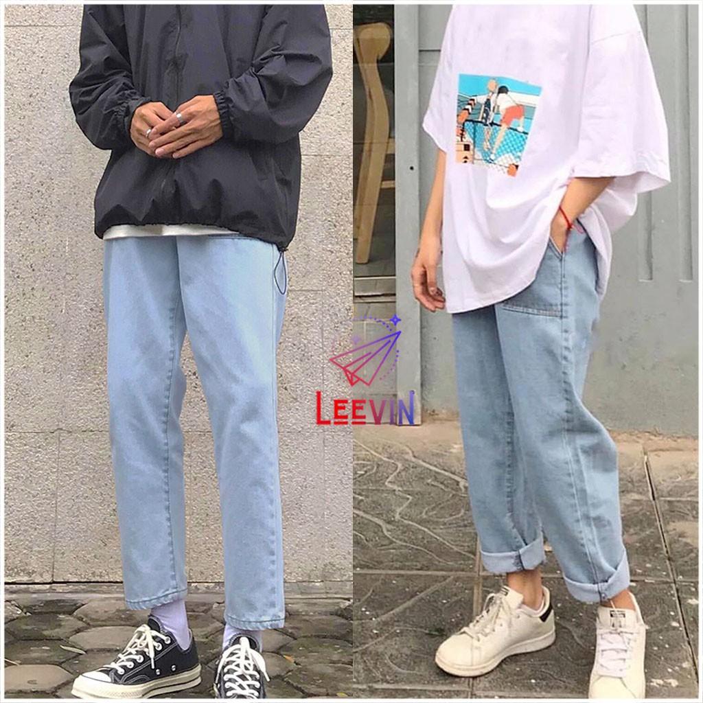 Quần Jean Nam Nữ Ống Suông Unisex 2 Túi Trước - Kiểu quần jeans nam nữ Baggy vải bò Leevin