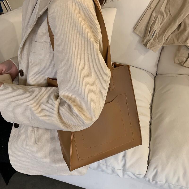 Túi nữ phiên bản hàn quốc túi đeo vai, túi tote sinh viên dung tích lớn túi xách đơn giản.