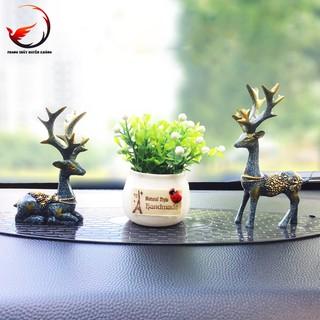 Cặp hươu phu thê+lọ hoa+thảm chống trượt_Vật phẩm phong thủy trang trí nội thất tiểu cảnh_SinsoShop_