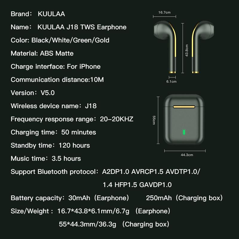 Tai nghe không dây Kuulaa J18 TWS bluetooth tích hợp micro có thể tự thay đổi tên thiết bị