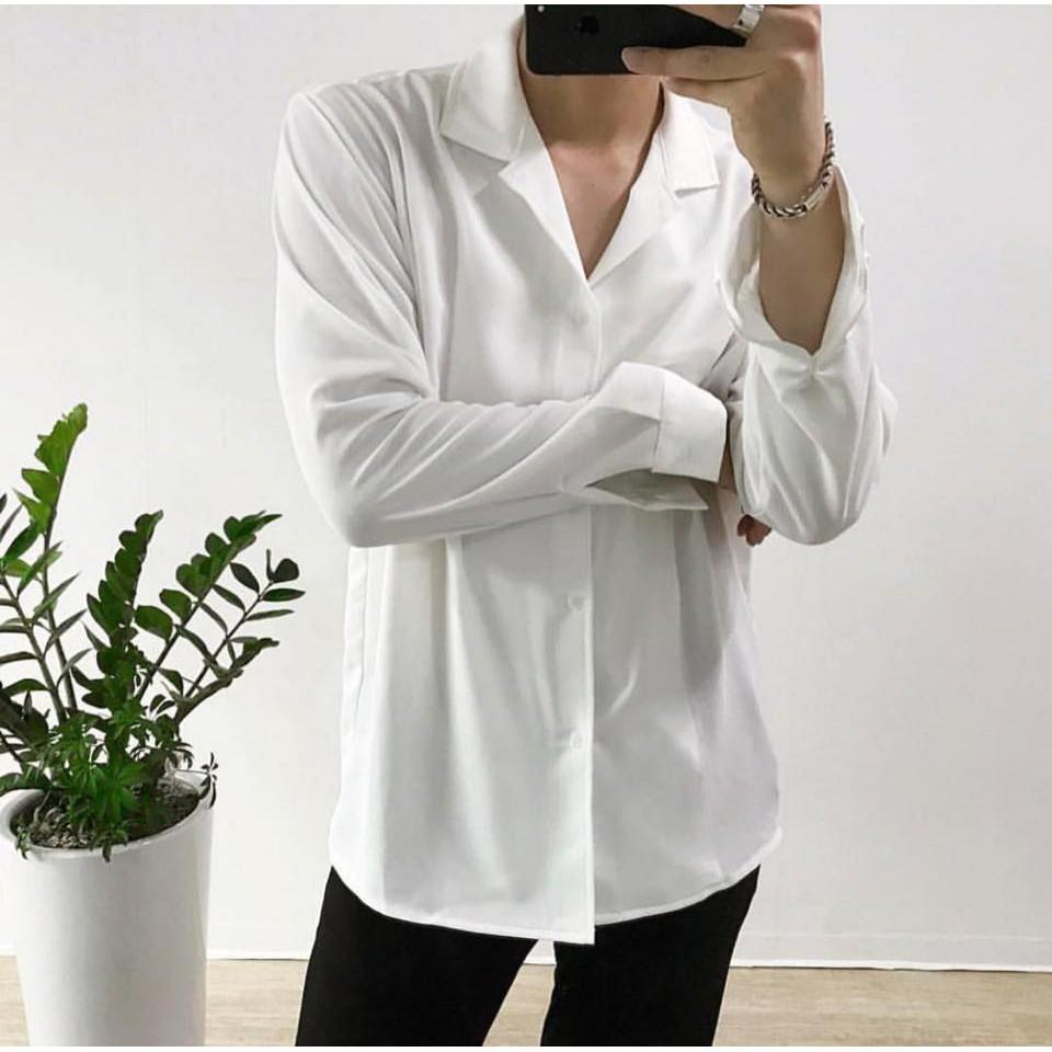 Áo sơ mi trắng cổ vest dài tay basic