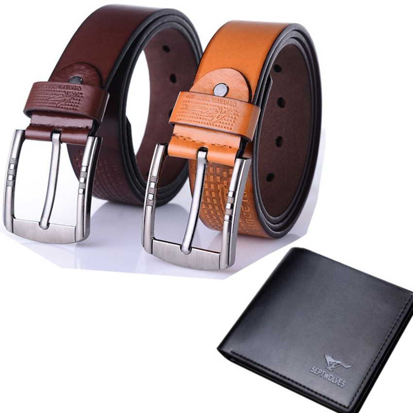 Bộ 03 sản phẩm thắt lưng da nam khóa kim bạc cao cấp
