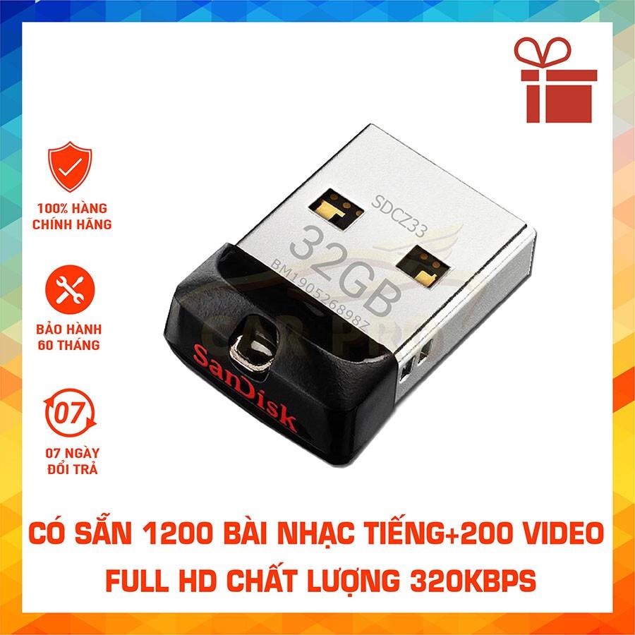 USB Ô tô 32GB Tiếng+Hình, Cắm là nghe, Full 1200 bài nhạc MP3 + 200 Video, Phụ kiện ô tô, Đồ chơi ô tô