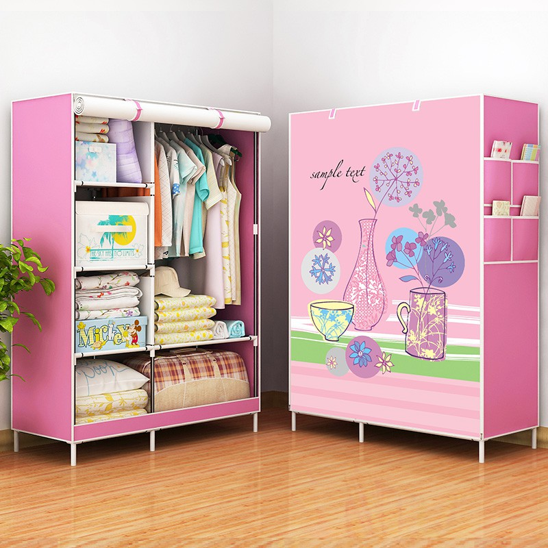 [GIÁ SỐC]Tủ Vải 3D 2 Buồng Đựng Quần Áo 1 Buồng 2 Ngăn treo quần áo tiện dụng
