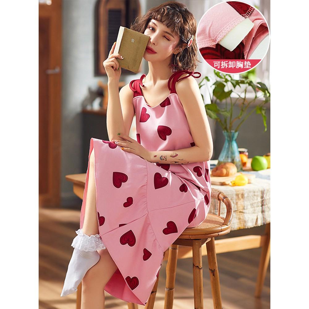 Bộ đồ ngủ dành cho nữ mùa hè mỏng bằng vải cotton dành cho nữ, váy ngủ, có đệm ngực dễ thương, dịch vụ tại nhà ngọt ngào - 22739274 , 2808008878 , 322_2808008878 , 300300 , Bo-do-ngu-danh-cho-nu-mua-he-mong-bang-vai-cotton-danh-cho-nu-vay-ngu-co-dem-nguc-de-thuong-dich-vu-tai-nha-ngot-ngao-322_2808008878 , shopee.vn , Bộ đồ ngủ dành cho nữ mùa hè mỏng bằng vải cotton dàn