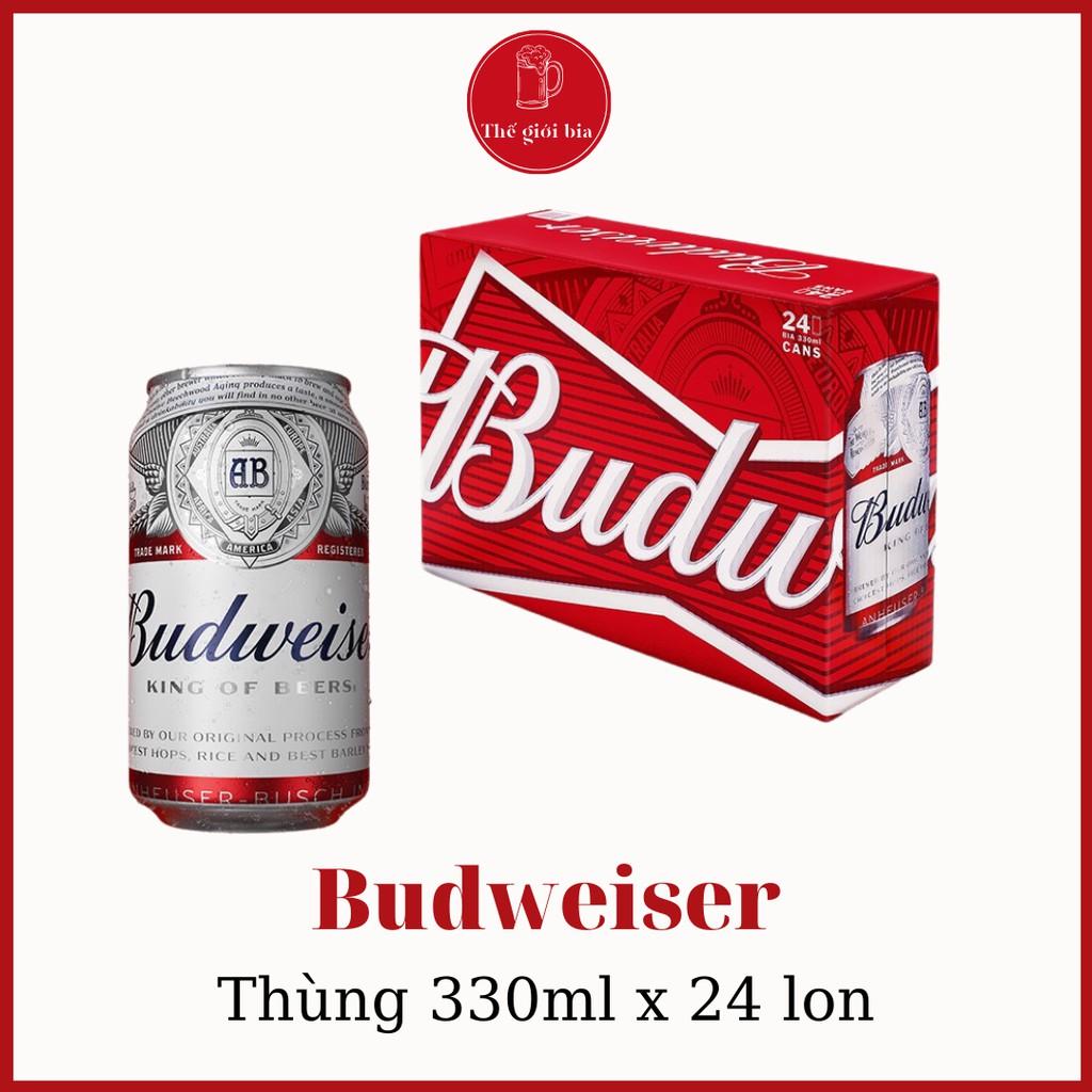 Bia Budweiser 330ML x 24 lon date tháng 12/2021 | Chính hãng