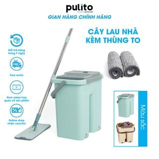 Bộ cây lau nhà ,chổi lau nhà thông minh Pulito tự vắt TẶNG Kèm 2 miếng lau siêu sạch LS-CKT