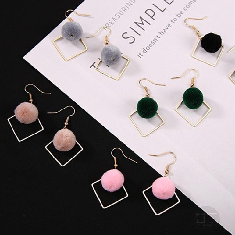 Fashion Pretty Plush Ball Geometric Hook Tassel Sweet Pendant Studs Earrings 500