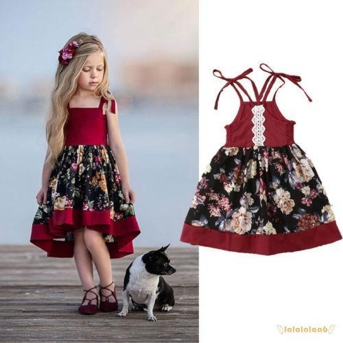Đầm xòe hai dây in họa tiết hoa xinh xắn dành cho bé gái