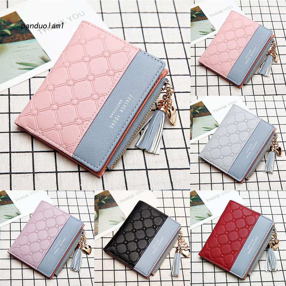【PDL】&✱Fashion Embossed Faux Leather Tassel Women Purse Card Coins Holder Short Wallet