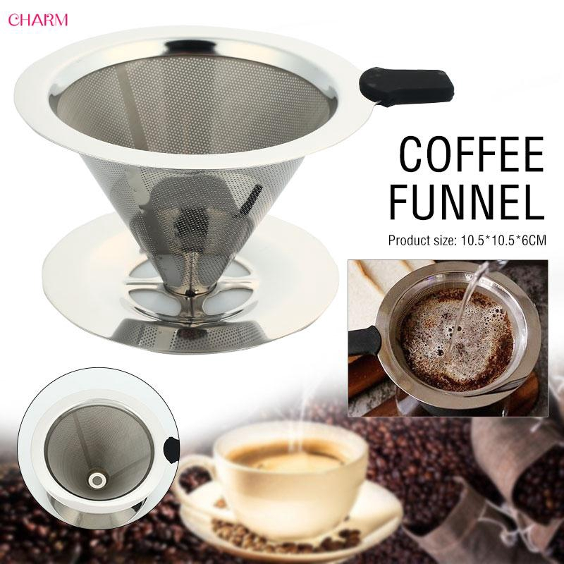 CHARM Cone Coffee Filter Mesh Funnel Stainless Steel Tea