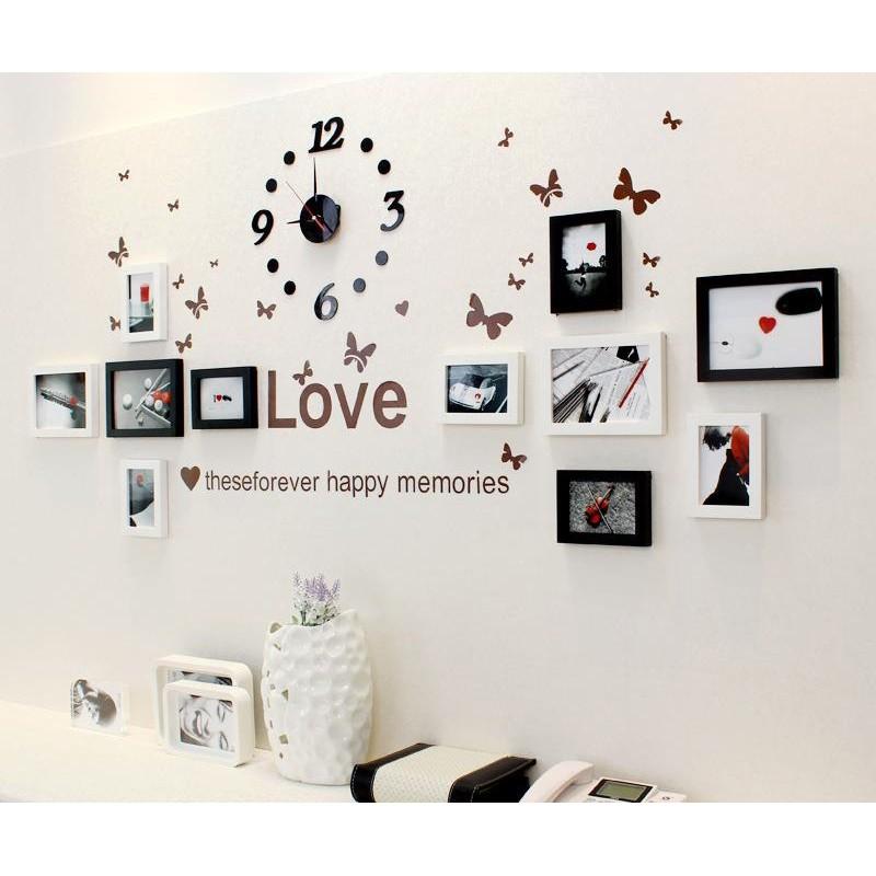 ( Khai trương trên Shopee SALE Sốc) Bộ 11 khung trang trí kèm đồng hồ và decal love dán tường mã số