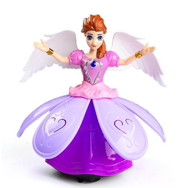 [ ĐỒ CHƠI BÉ GÁI ] Đồ chơi Búp bê công chúa Elsa, Anna nhảy múa xoay tròn phát nhạc có đèn cho bé