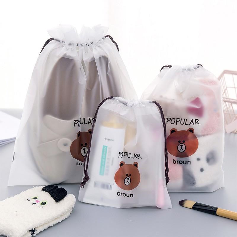 Túi nhựa thiết kế dây rút chống thấm nước cho đựng đồ dùng khi đi du lịch