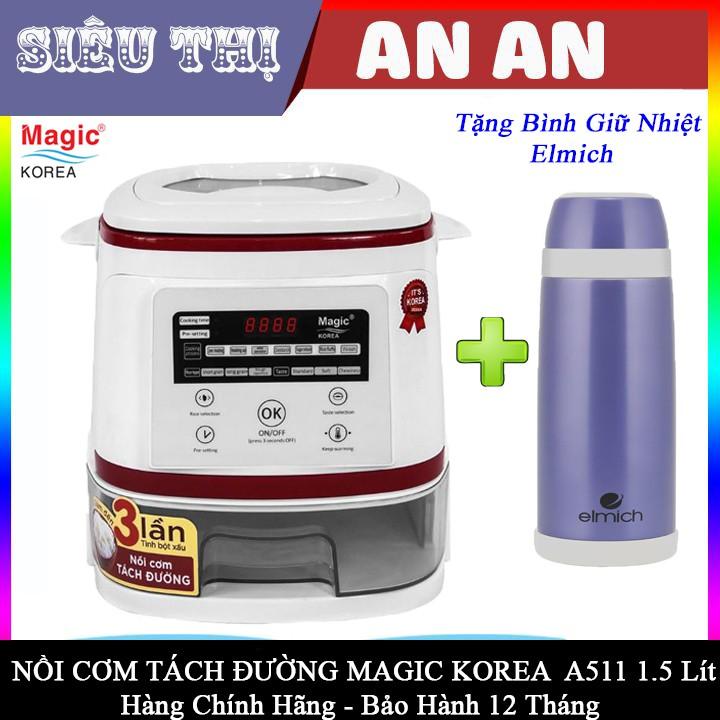 Nồi Cơm Điện Tách Đường Magic Korea A511 1.5L Inox 304 công suất 900w bảo hành 12 tháng