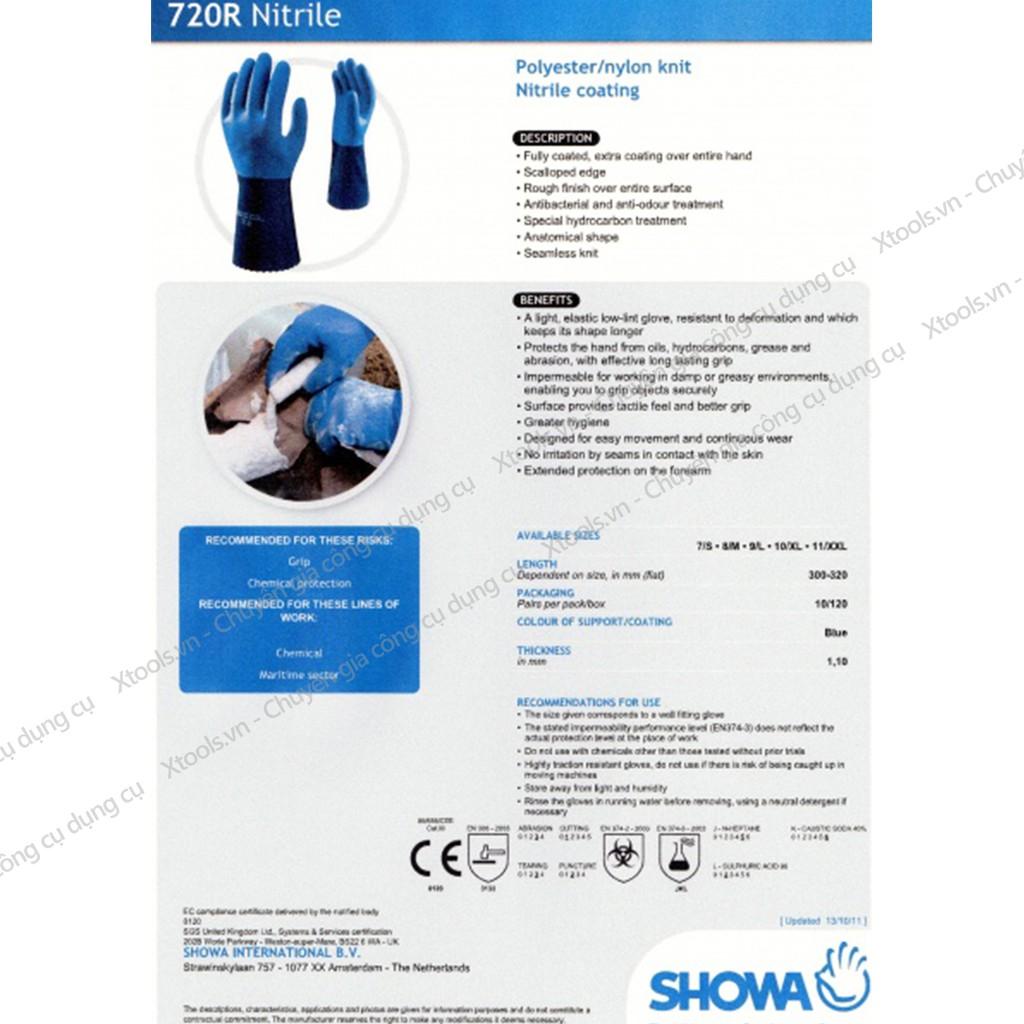 Găng tay chống hóa chất Showa 720 NBR chống dầu, axit, hóa chất, chống mòn tuyệt vời rất bền và linh hoạt - XTOOLs