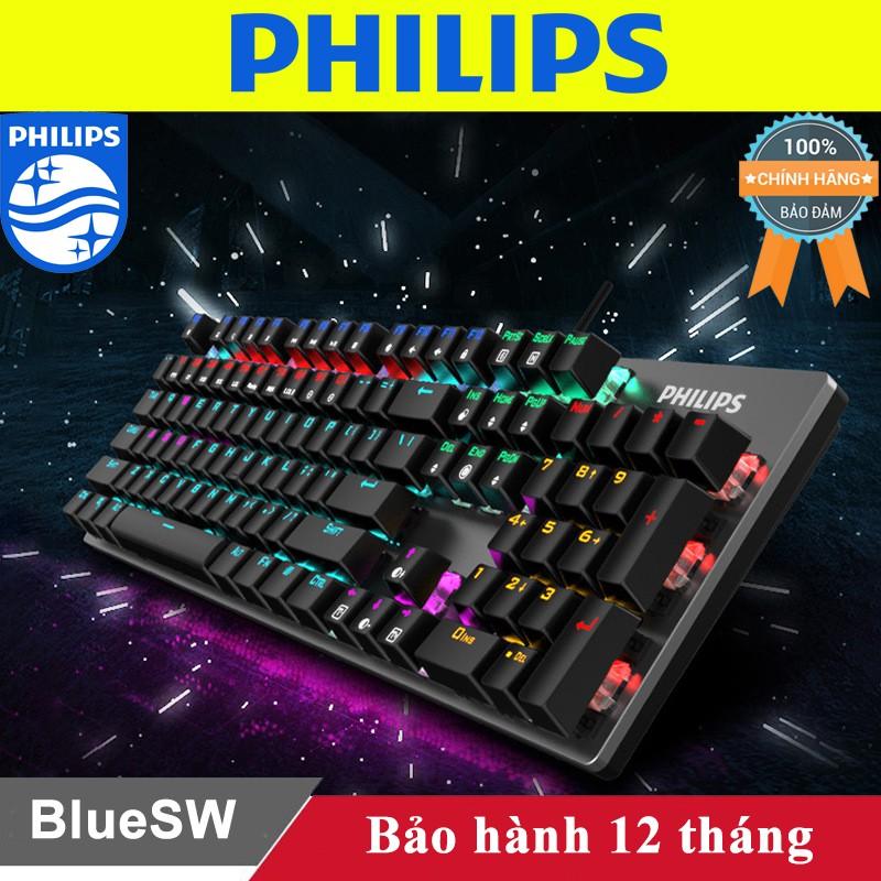 Bàn phím cơ Philips chính hãng - Phím cơ Philips Blue Switch Led Rainbow