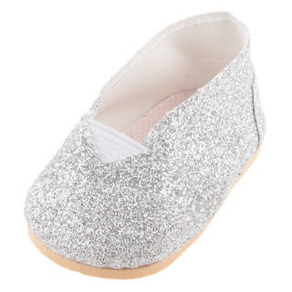 1 Pair Glittering Silver Casual Shoes Accessory for 18 inch Dolls