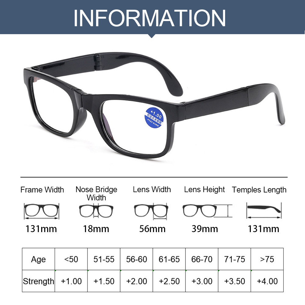 👗KAREN💍 Unisex Presbyopic Glasses Vision Care TR90 Reading Glasses Folding Reading Glasses Portable Diopter +1.0~4.0 Anti Blue Light with Glasses...