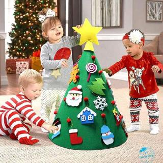 ☀Sun❤DIY Felt Toddler Christmas Tree New Year Kids Gifts Toys Playtime Kids Tree