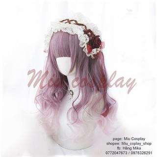Tóc giả lolita hồng khói mix trắng