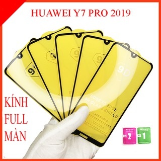 Kính cường lực Huawei Y7 Pro 2019 full màn hình, Ảnh thực shop tự chụp, tặng kèm bộ giấy lau kính taiyoshop2 thumbnail