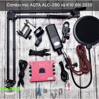 Mic thu âm AQTA ALC-280 Sound card k10 đời 2020 kèm dây live stream đi chân màng- Bộ livestream Sound card k10 cực chất