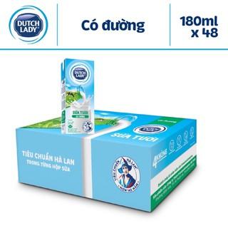Thùng sữa tươi tiệt trùng cô gái Hà Lan có đường 180ml – 12 lốc