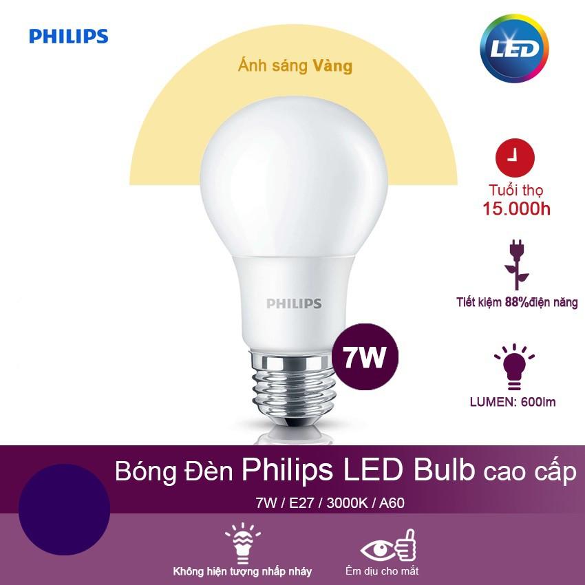 Bóng đèn Philips LEDBulb 7W 3000K E27 230V A60 - Ánh sáng vàng