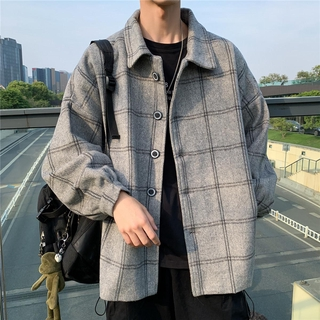 Woolen Plaid windbreaker Japanese style autumn winter Vintage Coat student casual medium length woolen coat in stock