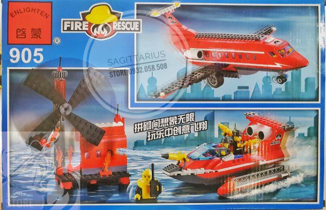 Lego Lắp Ráp Máy Bay Cứu Hỏa + Tàu Cứu Hỏa + Dàn Khoan ( 404 Mảnh )