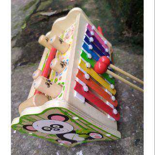 Đồ chơi gỗ phát triển trí tuệ. Đập chuột kết hợp gõ đàn cho bé