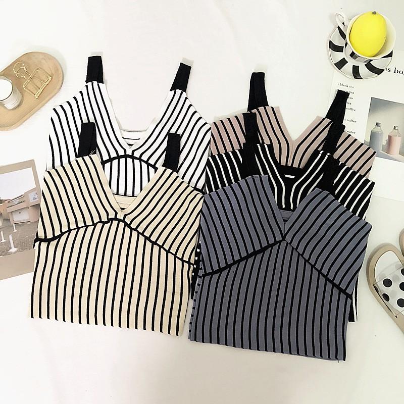 Áo yếm dây mảnh viền sọc thời trang nữ phong cách âu mỹ nhiều màu lựa chọn