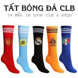 Tất CLB Vớ Đá Bóng Cổ Cao Co Giãn Chống Trơn Trượt Cho Trẻ Em & Người Lớn Logo CLB Real, Barca, Manchester, Juventus