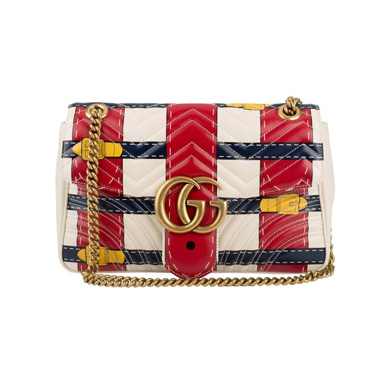 Gucci  Gucci ผู้หญิงใหม่หยักผ้าหนังคู่ G หัวเข็มขัดกระเป๋าสะพายพลิก 443496