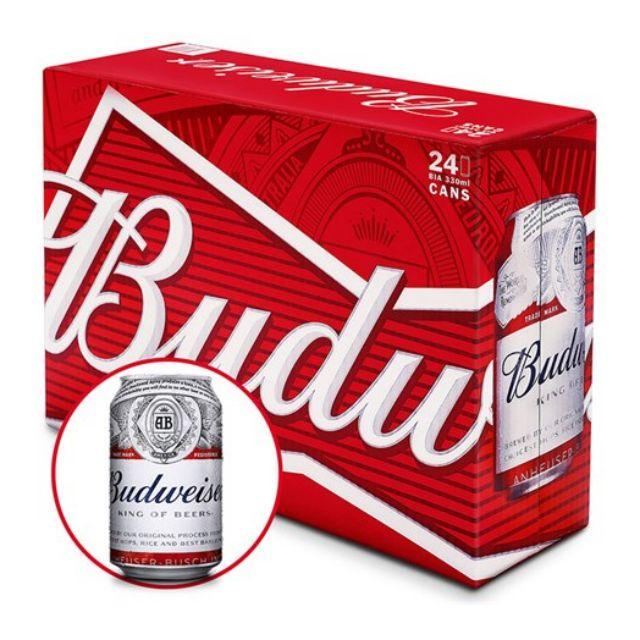 [TK MỚI GIẢM 25K NHẬP MÃ GTJUL182968] Bia Budweiser thùng 24 lon 330ml