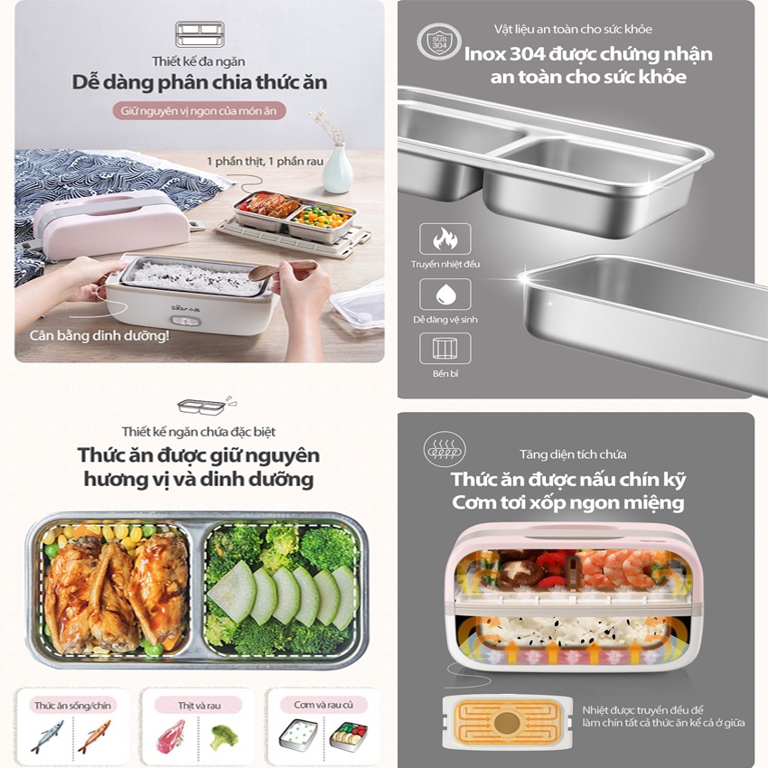 Hộp Cơm Cắm Điện Bear Khay Inox nấu cơm, nấu thức ăn, giữ nhiệt (Hàng chính hãng 1 đổi 1 trong 30 ngày, BH 18 tháng)