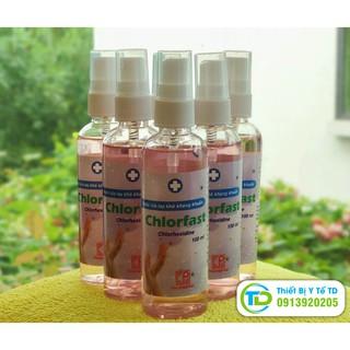 Nước rửa tay khô kháng khuẩn CHLORFAST chai nhỏ 100ml đầu xịt tiện lợi, hàng chuẩn cty Pharmedic, GMP-WHO, giữ ẩm cho da