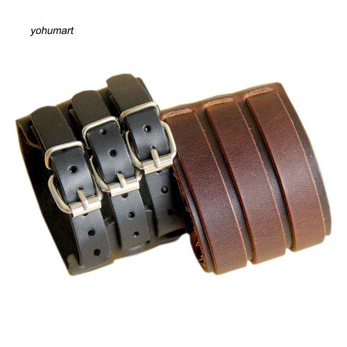 Men Fashion Multilayer Belt Faux Leather Bracelet 3 Buckles Wristband Cuff Bangle