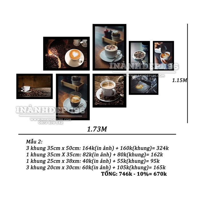 bộ khung trang trí quán cà phê mã số 69