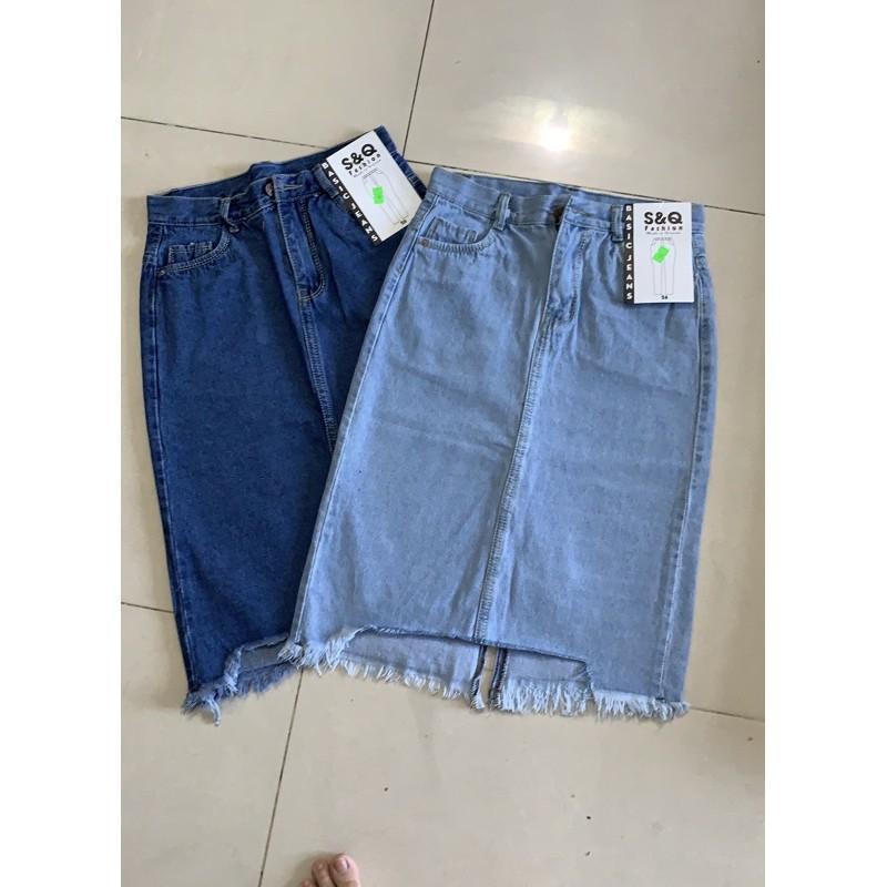 Chân váy jean dài phom chữ A lai rách kiểu, dài qua đầu gối 3760 Molijean