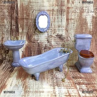 MYPANDA 1:12 Dollhouse miniature blue porcelain bathroom set toilet basin bathtub