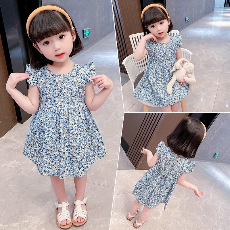 Váy, đầm CÁNH TIÊN CỔ TRÒN mùa hè chất cotton thoáng mát, họa tiết hoa nhí siêu dễ thương cho bé gái QATE22